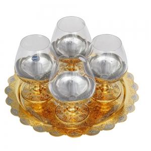 Коньячный набор блюдо и 4 бокала с гравировкой и золотым покрытием