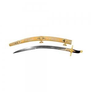 Сабля турецкая с широким клинком из дамасской стали, покрытие золотом